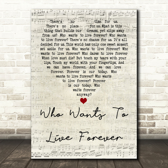 Queen Who Wants To Live Forever Script Heart Quote Song Lyric Print