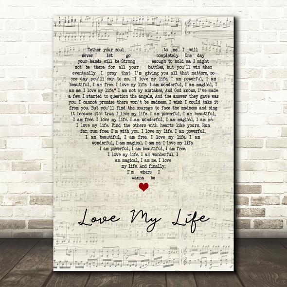 Robbie Williams Love My Life Script Heart Quote Song Lyric Print