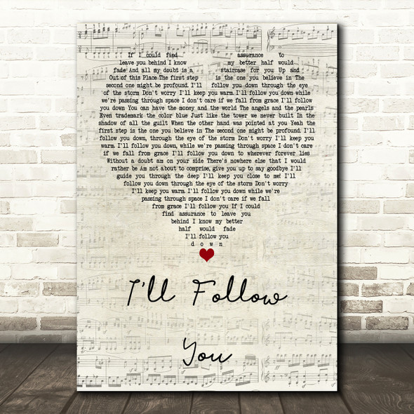 Shinedown I'll Follow You Script Heart Quote Song Lyric Print