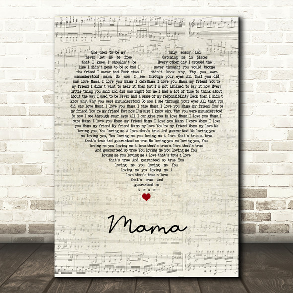 Spice Girls Mama Script Heart Quote Song Lyric Print