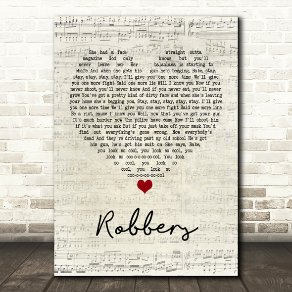 The 1975 Robbers Script Heart Quote Song Lyric Print