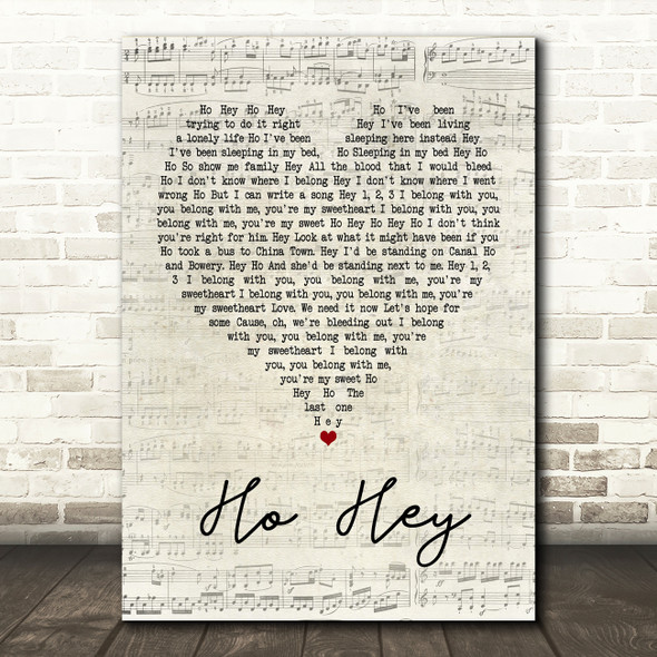 The Lumineers Ho Hey Script Heart Quote Song Lyric Print