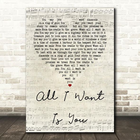 U2 All I Want Is You Script Heart Quote Song Lyric Print