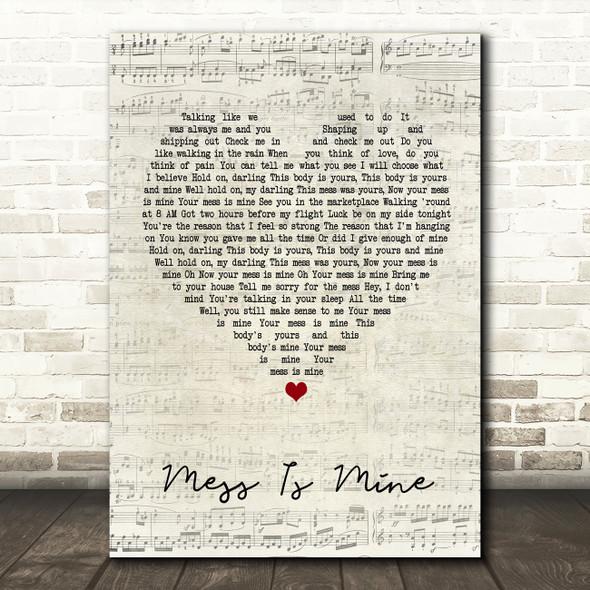 Vance Joy Mess Is Mine Script Heart Quote Song Lyric Print
