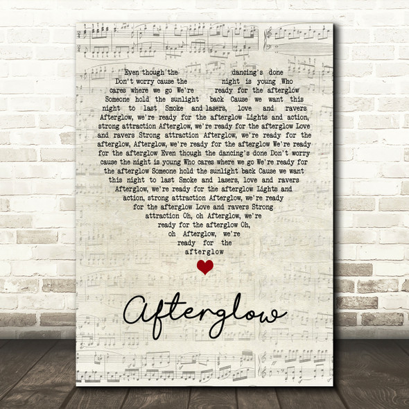 Wilkinson Afterglow Script Heart Quote Song Lyric Print