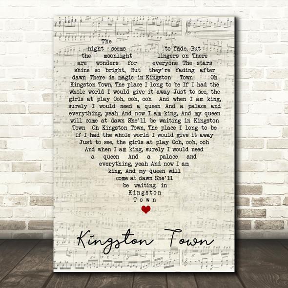 Kingston Town UB40 Script Heart Quote Song Lyric Print