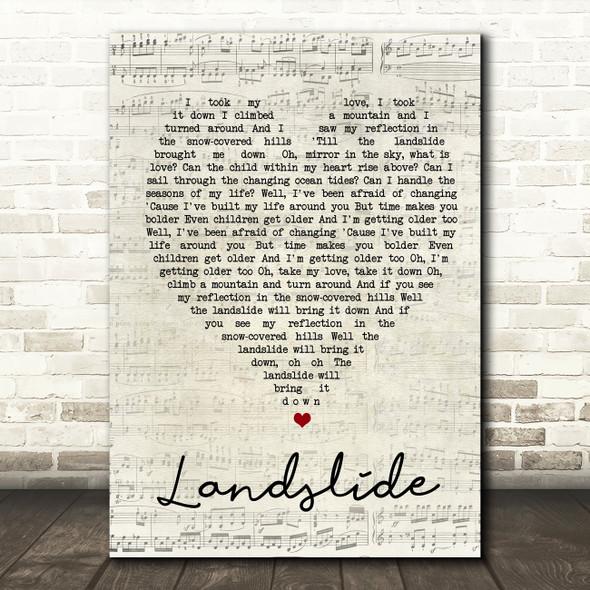 Landslide Fleetwood Mac Script Heart Quote Song Lyric Print