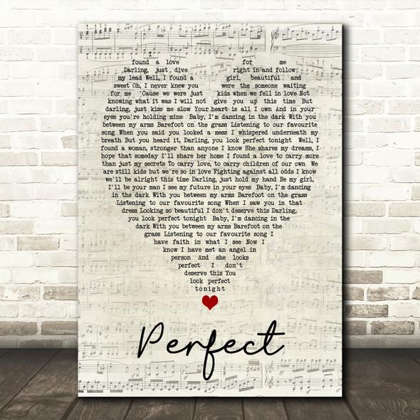 Perfect Ed Sheeran Script Heart Quote Song Lyric Print