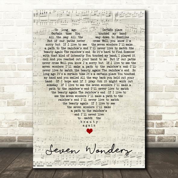 Seven Wonders Fleetwood Mac Script Heart Quote Song Lyric Print