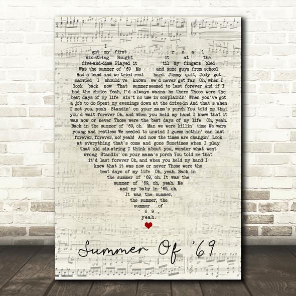 Summer Of '69 Bryan Adams Script Heart Quote Song Lyric Print