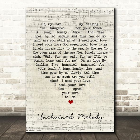Unchained Melody The Righteous Brothers Script Heart Quote Song Lyric Print