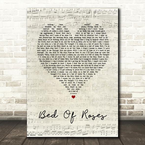 Bon Jovi Bed Of Roses Script Heart Song Lyric Quote Print