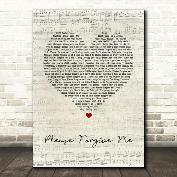 Bryan Adams Please Forgive Me Script Heart Song Lyric Quote Print