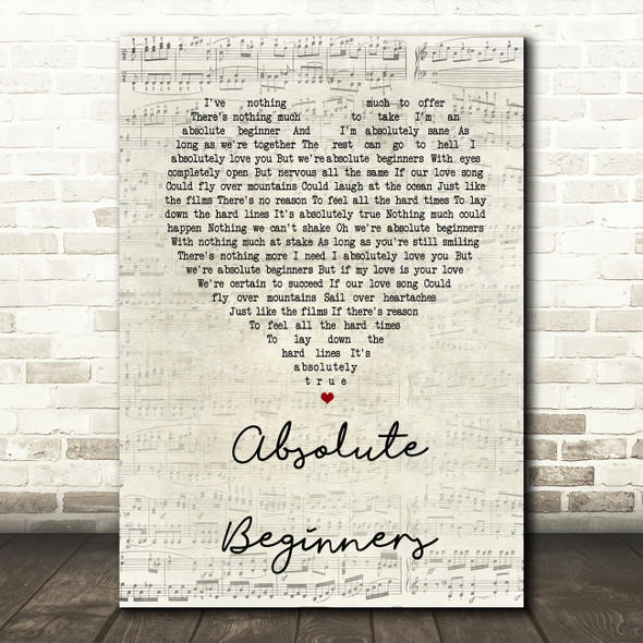 David Bowie Absolute Beginners Script Heart Song Lyric Quote Print