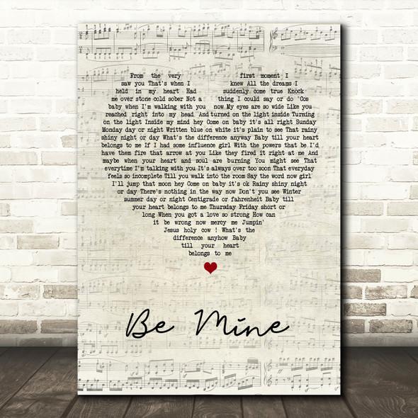 David Gray Be Mine Script Heart Song Lyric Quote Print