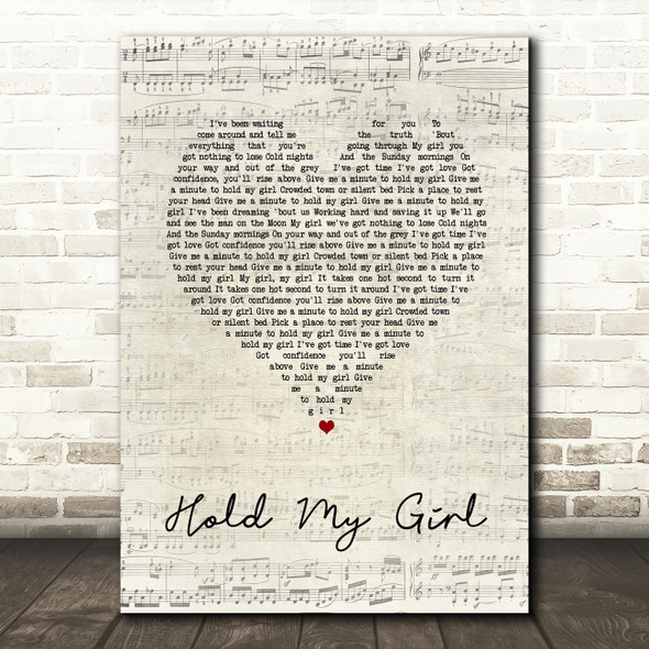 George Ezra Hold My Girl Script Heart Song Lyric Quote Print