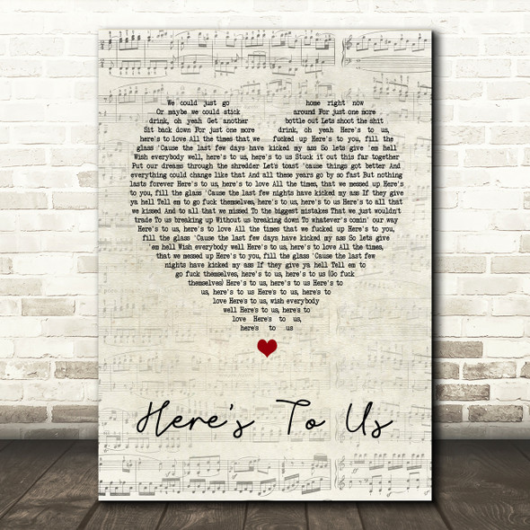 Halestorm Here's To Us Script Heart Song Lyric Quote Print