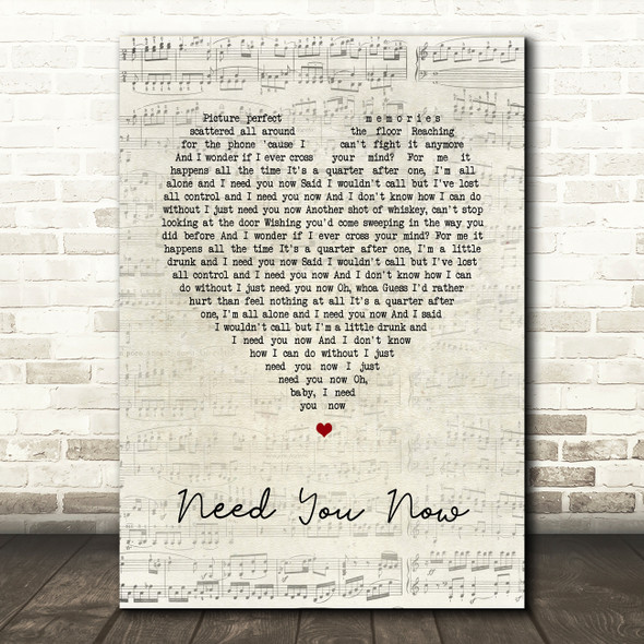 Lady Antebellum Need You Now Script Heart Song Lyric Quote Print