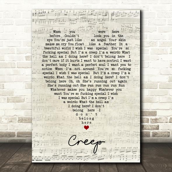 Creep Radiohead Script Heart Quote Song Lyric Print