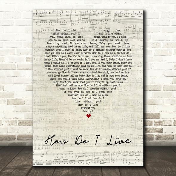 LeAnn Rimes How Do I Live Script Heart Song Lyric Quote Print
