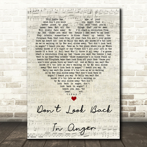 Don't Look Back In Anger Oasis Script Heart Quote Song Lyric Print
