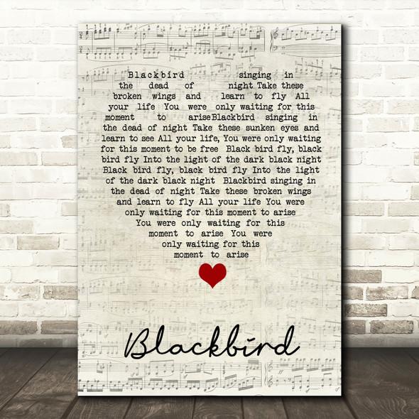 Blackbird The Beatles Script Heart Quote Song Lyric Print