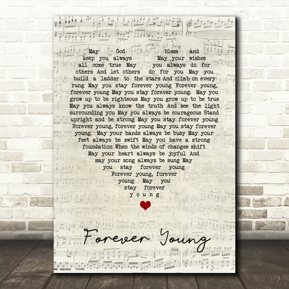 Forever Young Bob Dylan Script Heart Quote Song Lyric Print