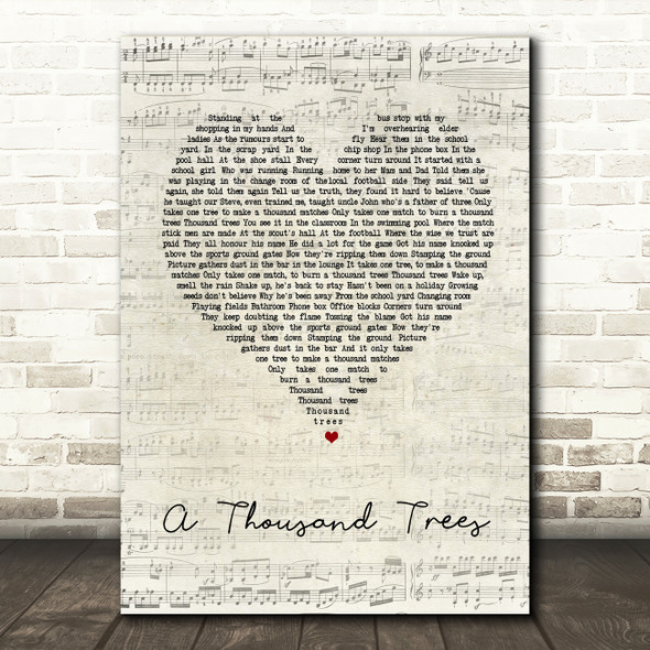 Stereophonics A Thousand Trees Script Heart Song Lyric Quote Print