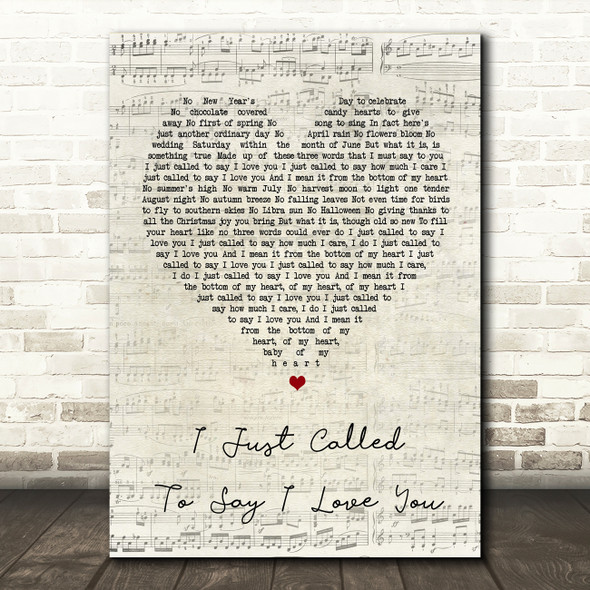 Stevie Wonder I Just Called To Say I Love You Script Heart Song Lyric Print