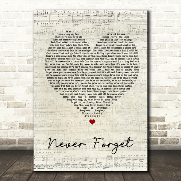 Take That Never Forget Script Heart Song Lyric Quote Print
