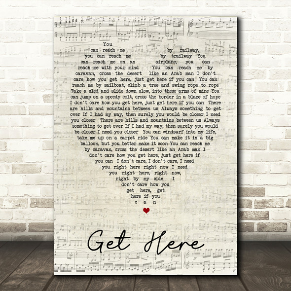 Get Here Oleta Adams Script Heart Quote Song Lyric Print