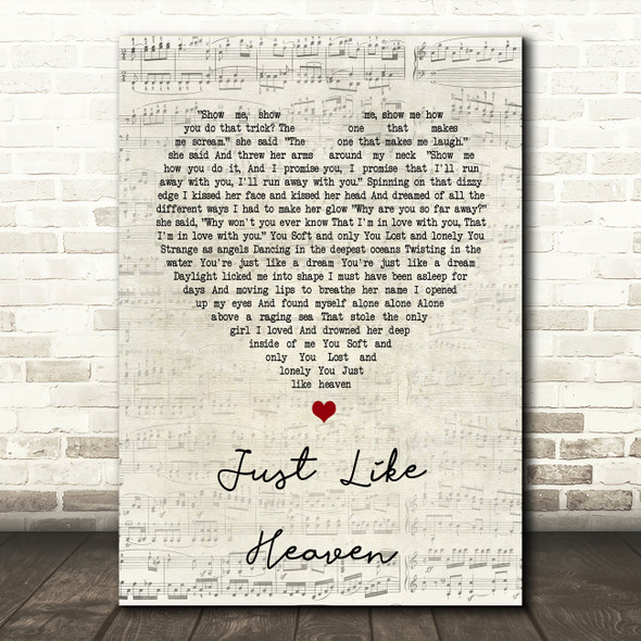 The Cure Just Like Heaven Script Heart Song Lyric Quote Print