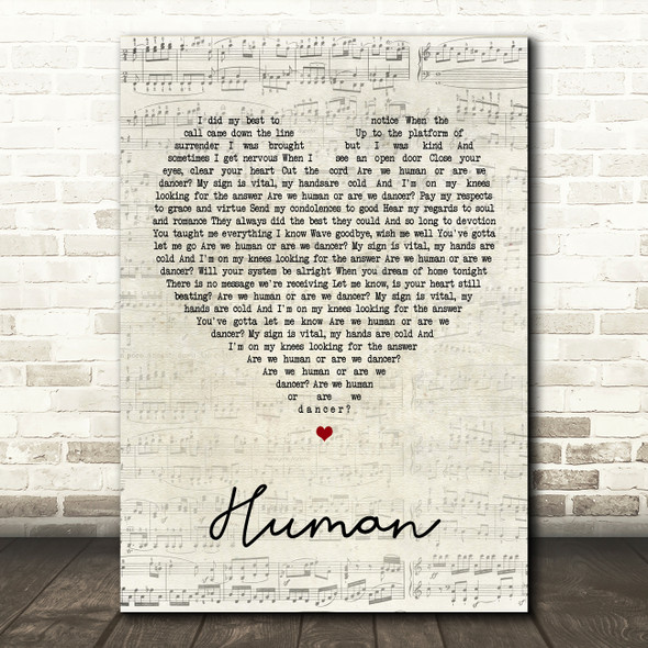 The Killers Human Script Heart Song Lyric Quote Print