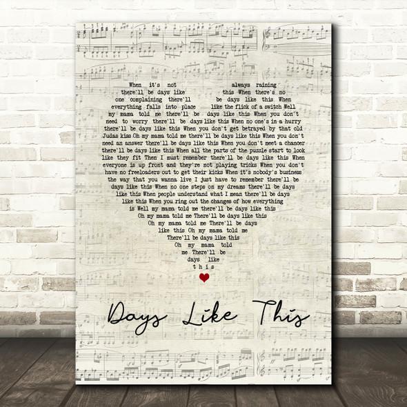 Van Morrison Days Like This Script Heart Song Lyric Quote Print