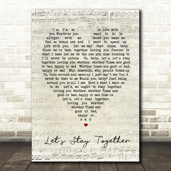 Let's Stay Together Al Green Script Heart Quote Song Lyric Print