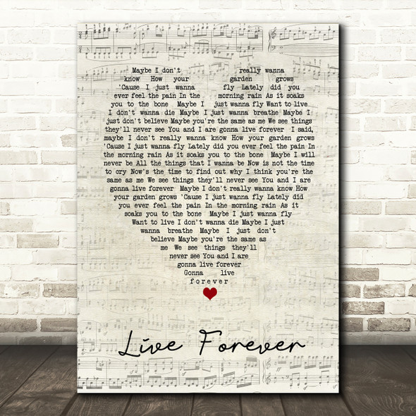 Live Forever Oasis Script Heart Quote Song Lyric Print