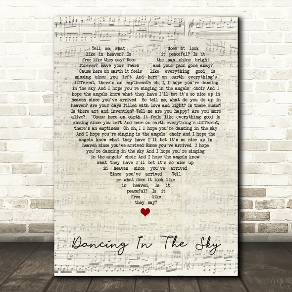 Dani And Lizzy Dancing In The Sky Script Heart Song Lyric Quote Print