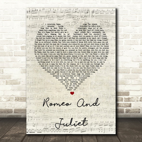 Dire Straits Romeo And Juliet Script Heart Song Lyric Quote Print