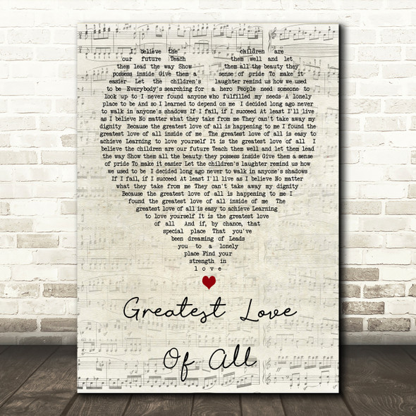 Whitney Houston Greatest Love Of All Script Heart Song Lyric Quote Print