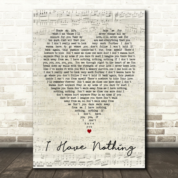 Whitney Houston I Have Nothing Script Heart Song Lyric Quote Print