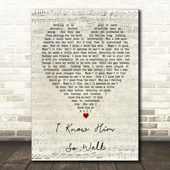 Whitney Houston I Know Him So Well Script Heart Song Lyric Quote Print