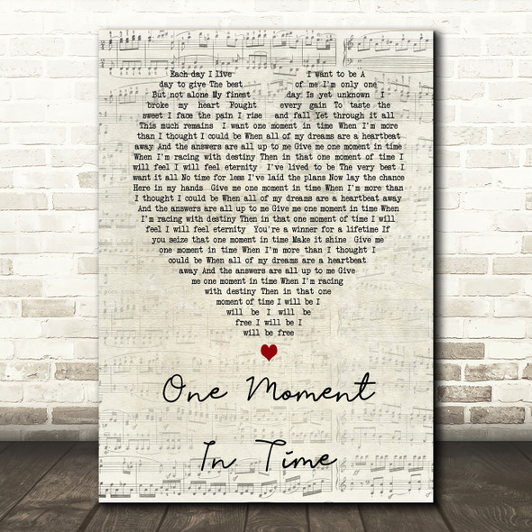 Whitney Houston One Moment In Time Script Heart Song Lyric Quote Print