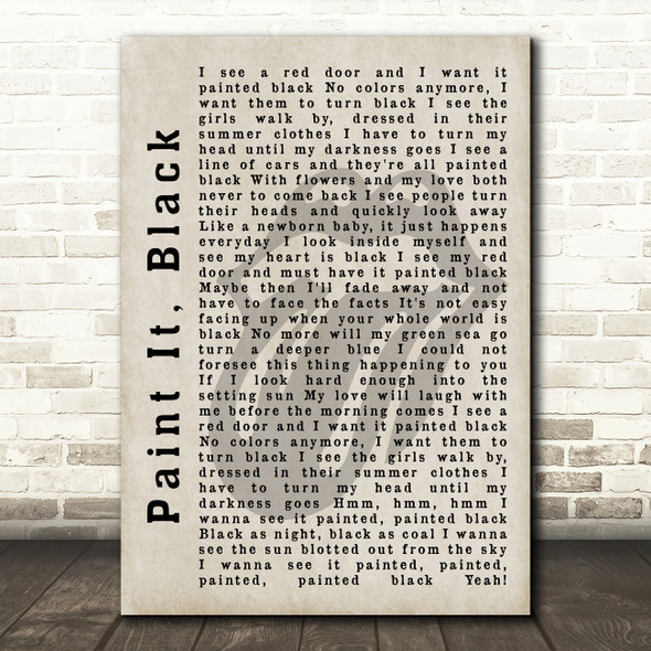 The Rolling Stones Paint It, Black Shadow Song Lyric Quote Print