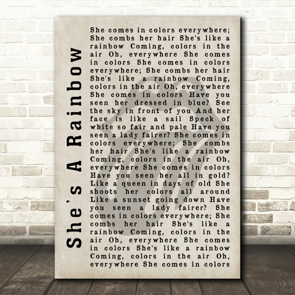 The Rolling Stones She's A Rainbow Shadow Song Lyric Quote Print