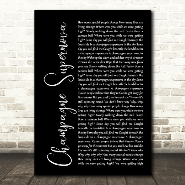 Oasis Champagne Supernova Black Script Song Lyric Quote Print