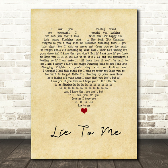 5 Seconds Of Summer Lie To Me Vintage Heart Quote Song Lyric Print
