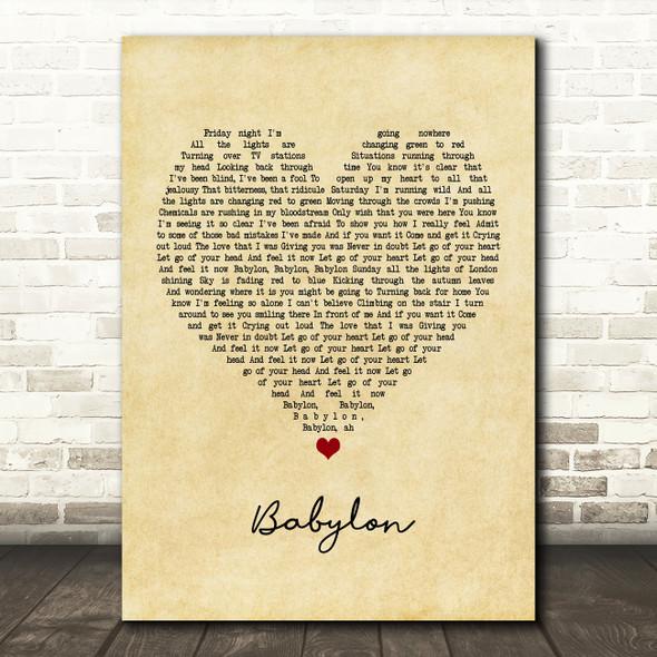 David Gray Babylon Vintage Heart Quote Song Lyric Print