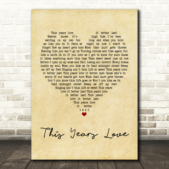 David Gray This Years Love Vintage Heart Quote Song Lyric Print