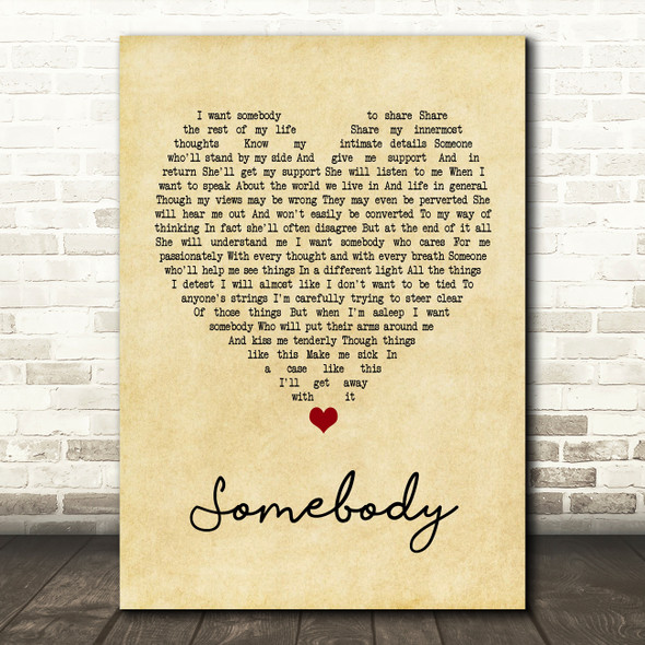 Depeche Mode Somebody Vintage Heart Quote Song Lyric Print