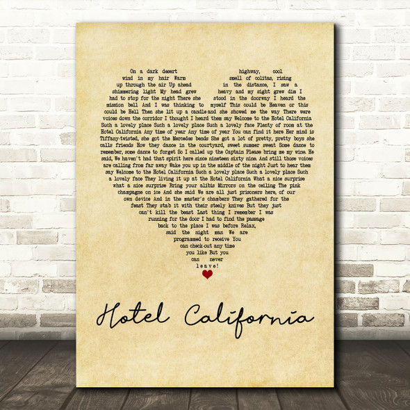 Eagles Hotel California Vintage Heart Quote Song Lyric Print